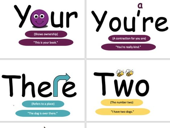 Homophones: your, you're, their, there, they're and two, to, too.