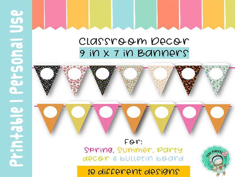 Triangle Banners | Classroom Decor {9 in x 7 in} Editable | TeKa Kinderland