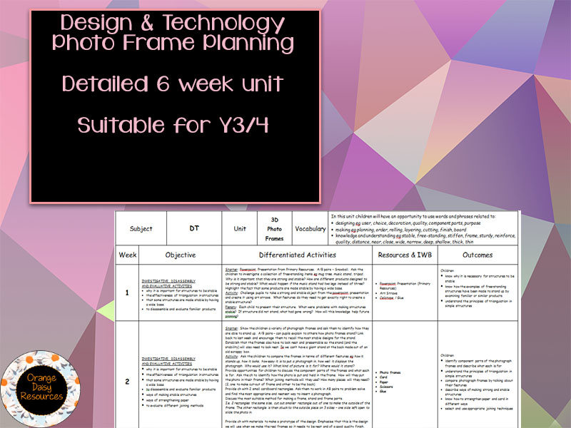 Photo Frame Design & Technology Planning for Y3/Y4