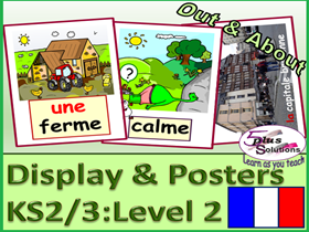54 FRENCH DISPLAY/POSTER/FLASHCARDS(KS2/3): Accommodation, surroundings, photos, grammar, song etc.