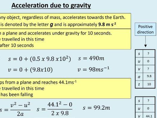A level Physics (7.4) Free fall - Kinematics - (On the move)