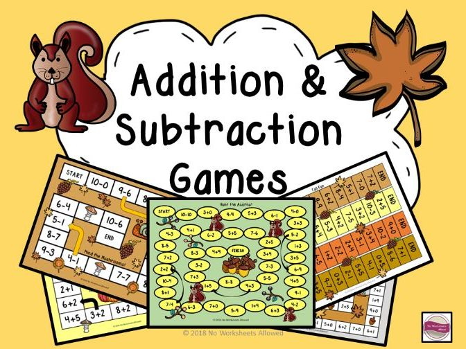 Addition and Subtraction Games Within 10: Autumn Theme