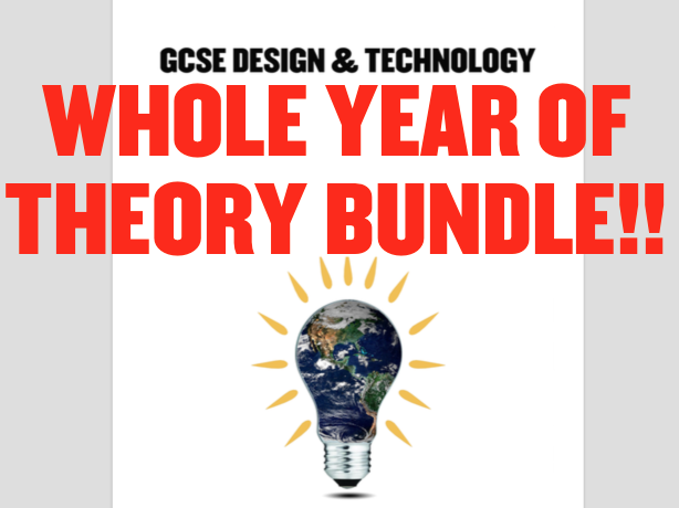 WHOLE THEORY YEAR! WJEC GCSE Design Technology New Spec - Pupil workbooks & presentations!