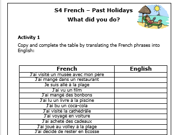 French - Past Holidays Worksheets