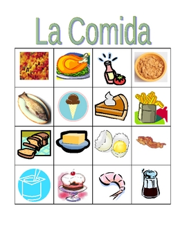 Comida (Food in Spanish) Bingo