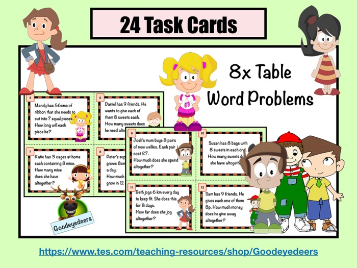 Eight Times Table Word Problems - Task Cards