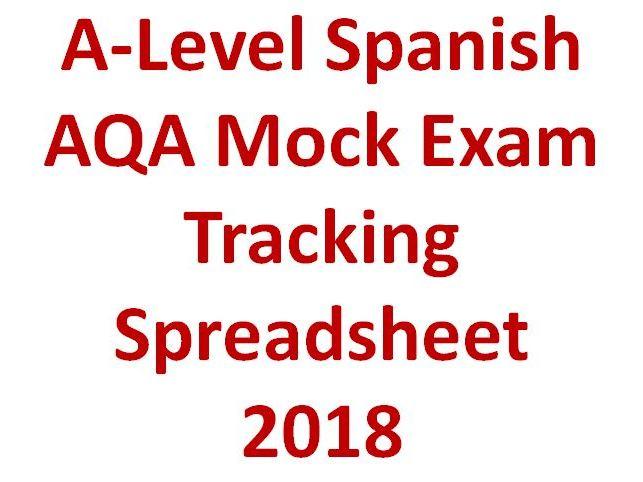 A-Level Spanish AQA Mock Tracking Spreadsheet 2018