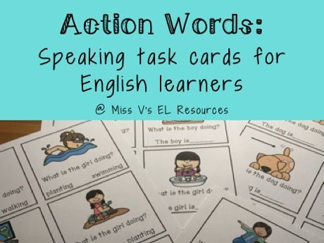 Action verb task cards for oral language