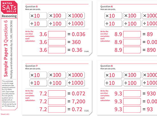 Reasoning: SATs Sample Paper 3 Question 6 - multiply and divide decimals by 10, 100 and 1000