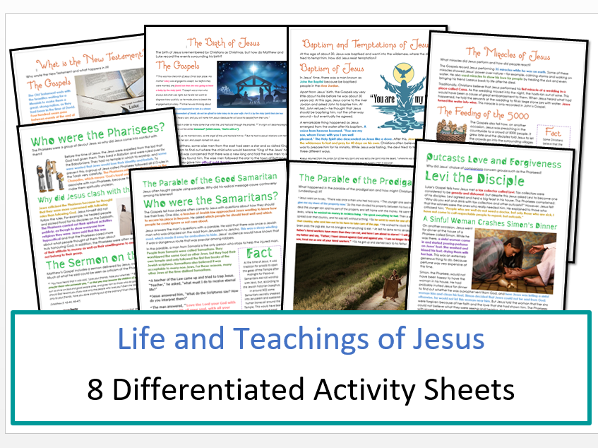 The New Testament: Life and Teachings of Jesus: Differentiated Activity Sheets Bundle