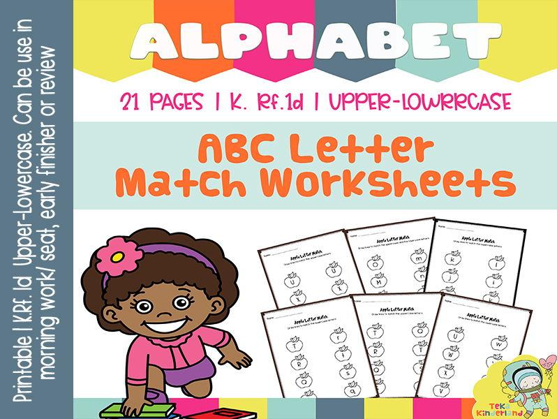 Apple Theme Alphabet Match Worksheets NO-PREP | Uppercase and Lowercase Letters TeKa Kinderland