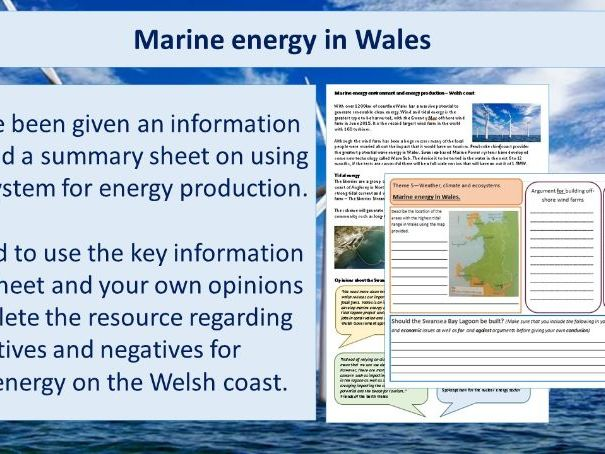 Ecosystem for energy production - wind and tidal energy Wales (AQA and Eduqas)