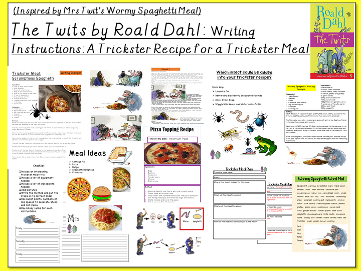 The Twits by Roald Dahl-Writing Instructions: Trickster Recipe for a Trickster Meal