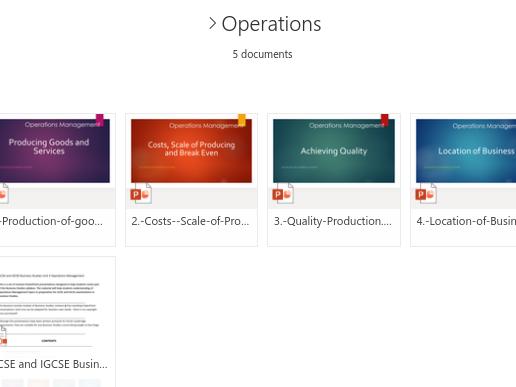 IGCSE/GCSE Operations for Business Studies (Unit 4)