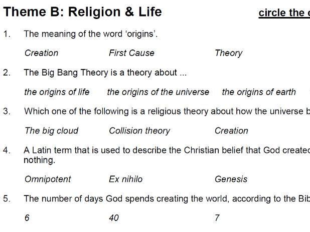Religion & Life (Theme B: AQA GCSE Religious Studies) - multiple choice test