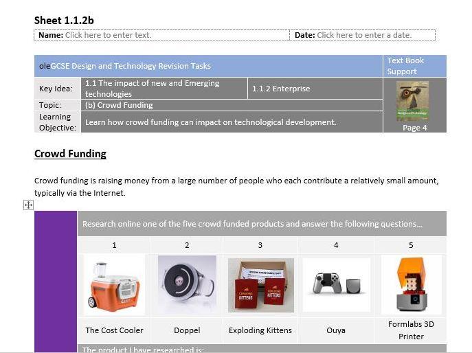 29 Core Content e-Worksheets for Edexcel GCSE (9-1) Design and Technology