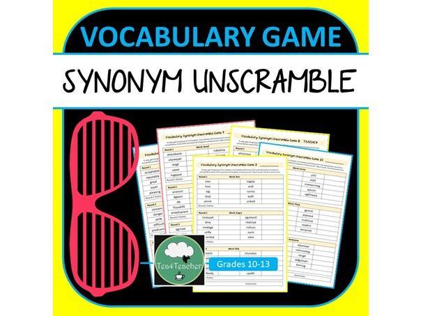 SYNONYMS UNSCRAMBLE GAME High School ELA Vocabulary Games