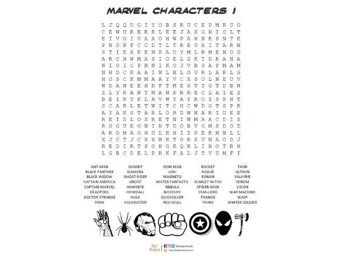 Marvel characters wordsearch *FREE*