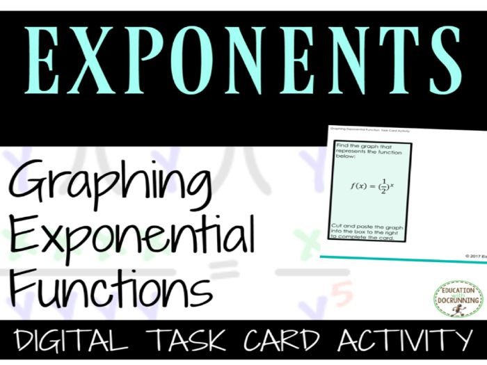 Graphing Exponential Functions Digital Task Cards