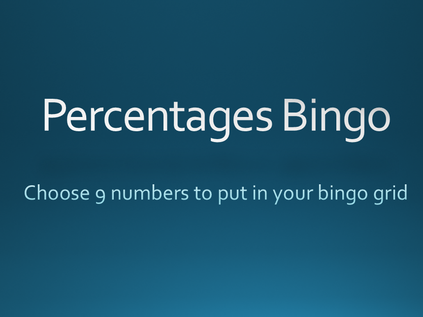 PERCENTAGE of an AMOUNT Bingo
