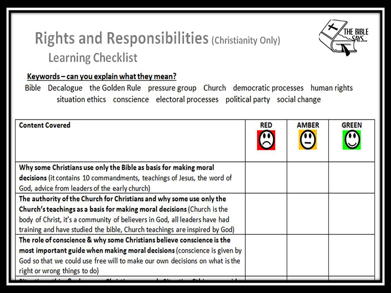 Learning Checklist: Rights and Responsibilities