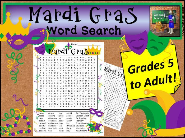Mardi Gras Word Search *Hard*