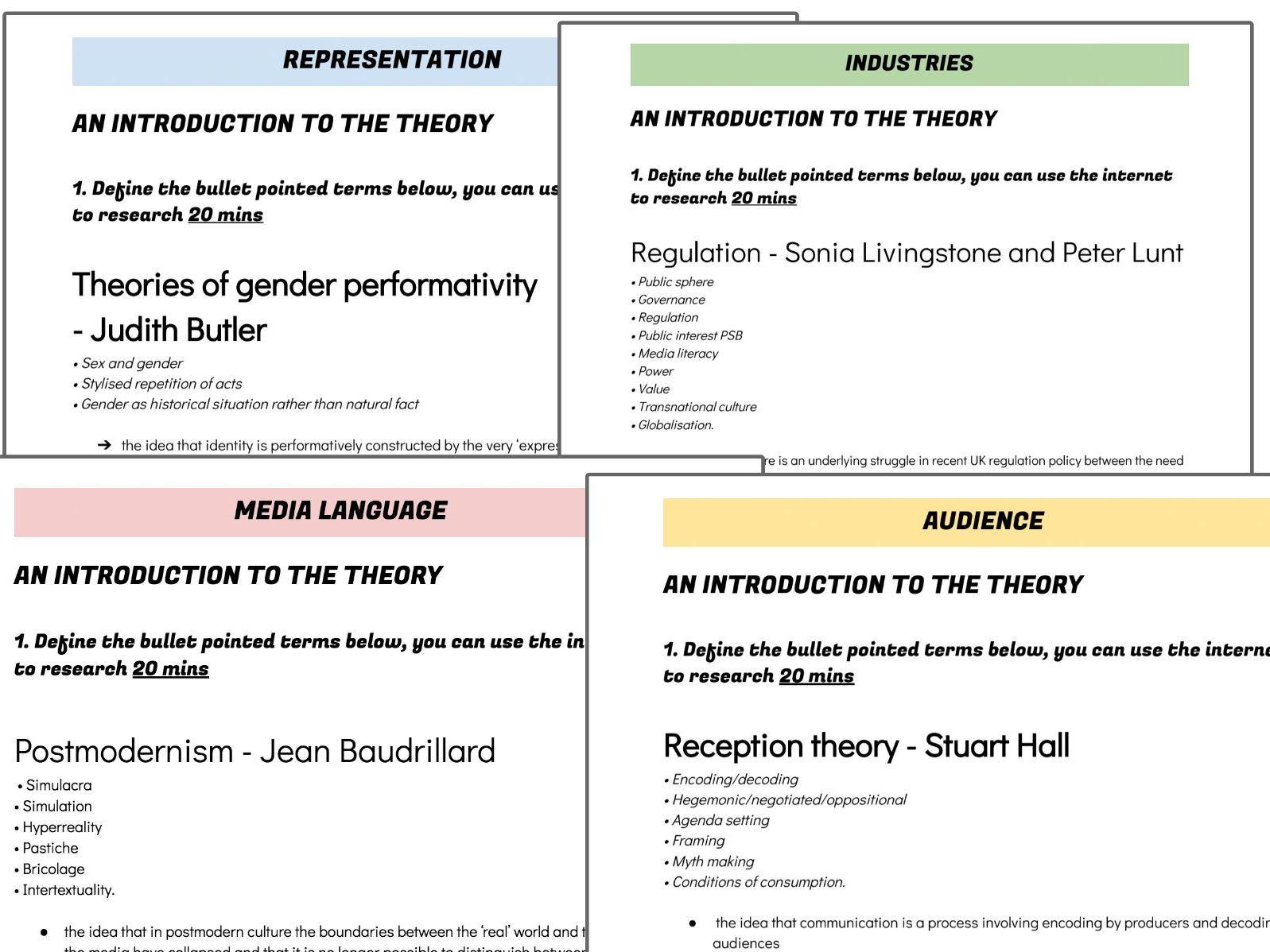 WJEC Media A Level Representation, industries, Audience & Media Language worksheets FULL BUNDLE