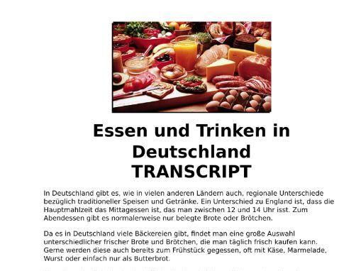 Food & Drink (Essen) German Listening, MP3 & Transcript