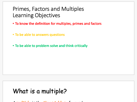 Primes, Factors and Multiples