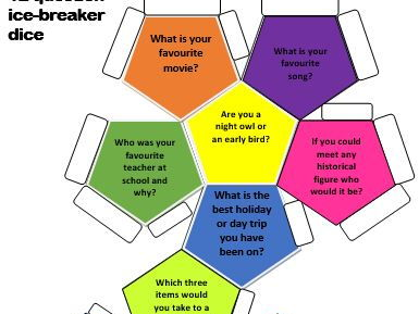 Ice Breaker Dice/Ball Template 12 sided with questions or blank