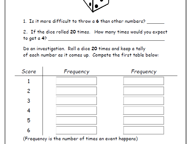 24 Easy Handling Data Worksheets - Years 2 3 or 4 Tally/Bar Charts Venn Diagrams Probability