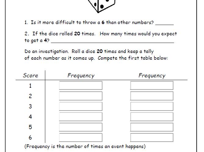 24 Easy Handling Data Worksheets - Years 2 3 or 4 Tally/Bar Charts Venn Diagrams Probability