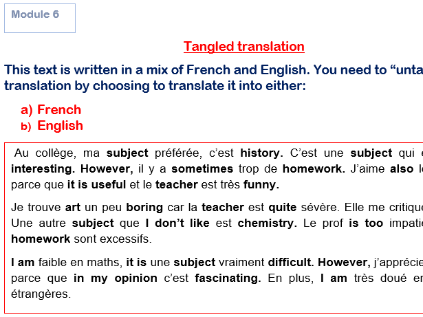 Tangled Translations GCSE French Module 6 (Answers Included!) Studio