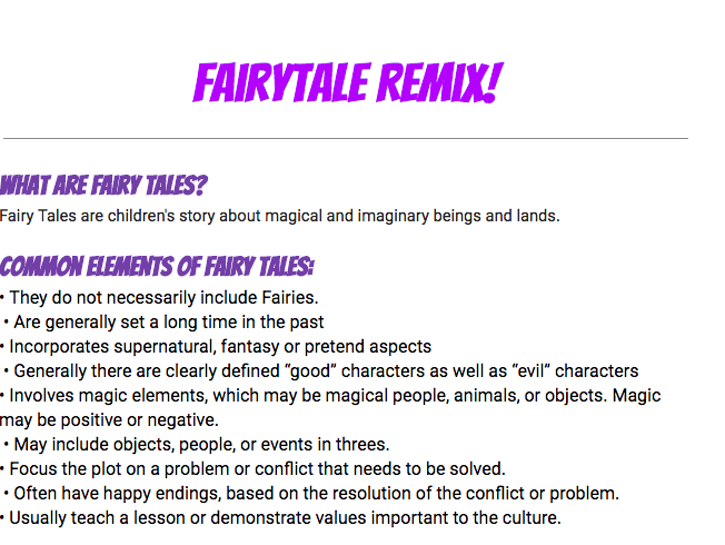 Fairytale Remix/Digital Storytelling Assessment for Key Stage 3 English Students!