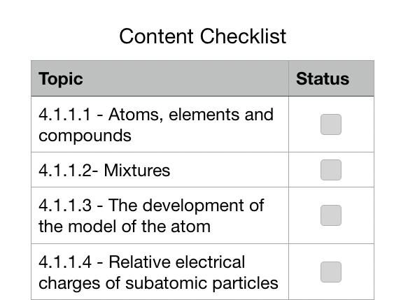 AQA Chemistry Checklist (Apple Numbers)