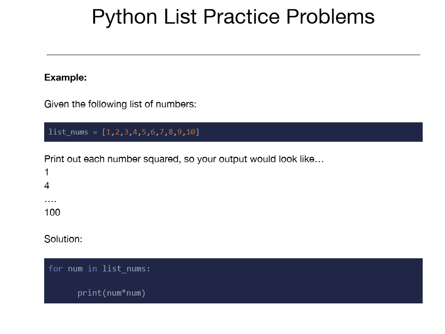 Python List Practice Problems