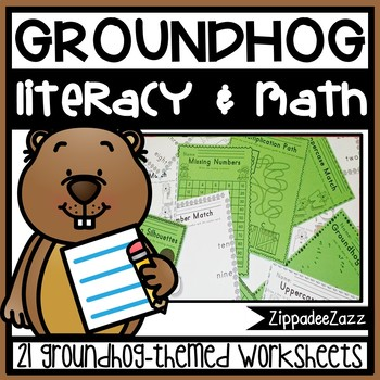 Worksheets for Groundhog Day ELA Literacy and Math Activities