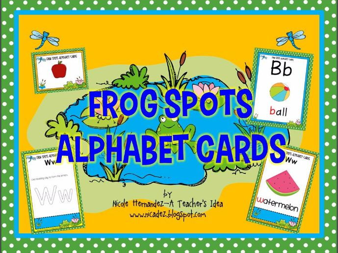 Alphabet Cards- {Frog Themed} Posters, Picture Cards and Modeling Clay Cards