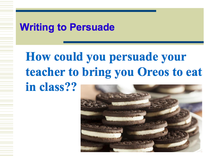 Using OREO paragraphs in writing to persuade