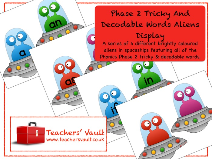 Phase 2 Tricky and Decodable Words Aliens Display