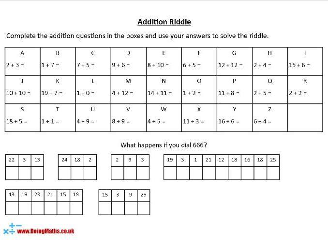 Addition Riddles  - KS2 Maths Worksheets