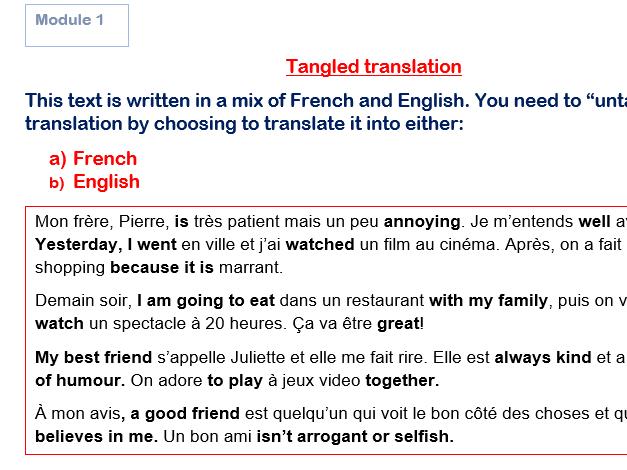 GCSE French Tangled Translation Bundles Modules 1-4