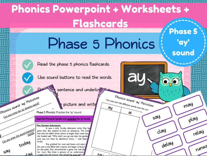 Phonics Powerpoint + Worksheets for the 'ay' sound