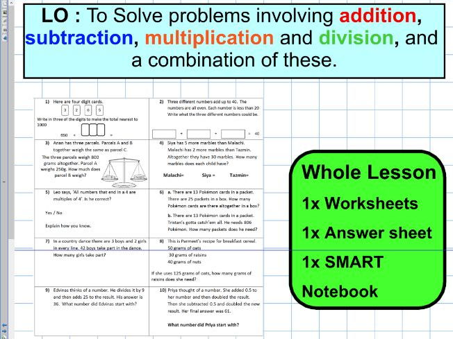 Four Operations mixed multiplication division subtraction addition - sats - notebook - WHOLE LESSON