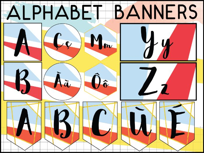 FRENCH ALPHABET SET - BANNERS - WORD WALL HEADERS - ACCENTS INCLUDED - 5 OPTIONS
