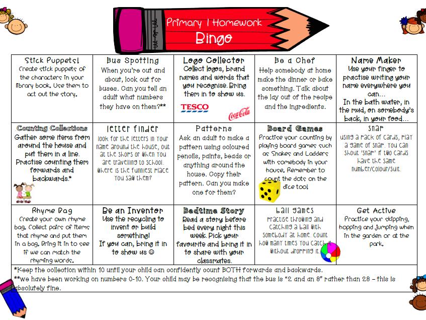Primary 1 Homework Bingo