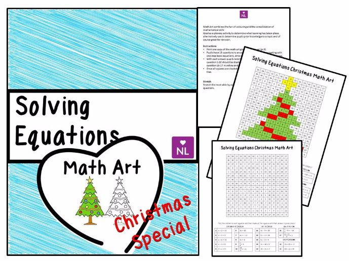 Christmas Maths Solving Linear Equations Math Art By Numberloving