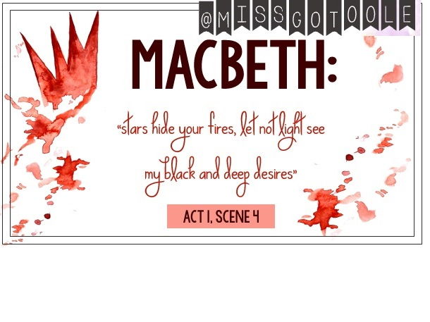 Macbeth Key Quotes Classroom Display Postcards