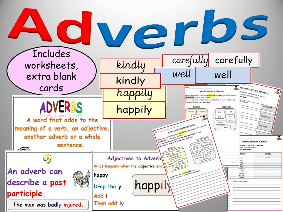 Adverbs of Manner Displays, Flashcards, Worksheets/Activities on Adverbs