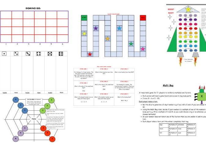 Selection of Maths games - times tables, factors, doubling/halving, co-ordinates, place value.